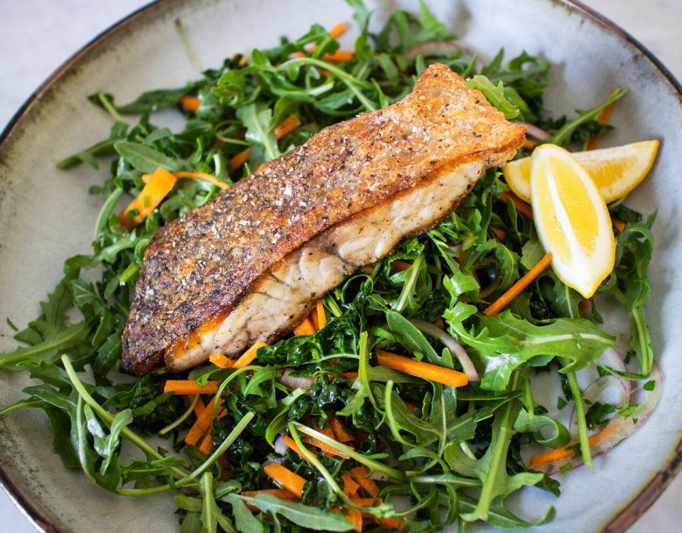 Bare Health Studio Crispy Skin Barramundi with Kale Slaw